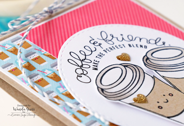 Simon Says Stamp February 2017 Card Kit. Coffee and Tea. Doodlebug papers. Card by Wanda Guess