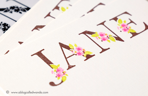 PTI Botanical Letters stamps. March 2017 Release. Notecards by Wanda Guess