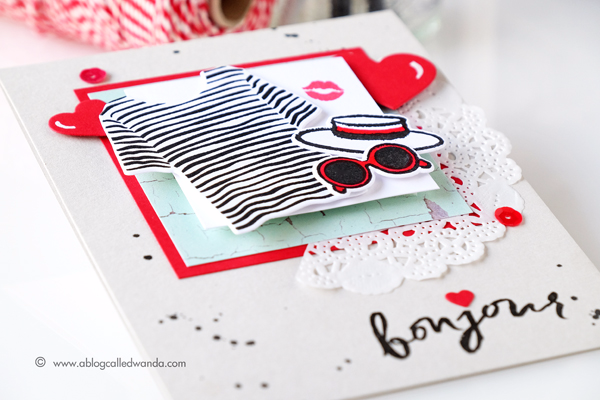 Hero Arts Ooh La La stamp set and Dies. Heart Infinity Dies. Project by Wanda Guess for A Blog Named Hero Blog Hop
