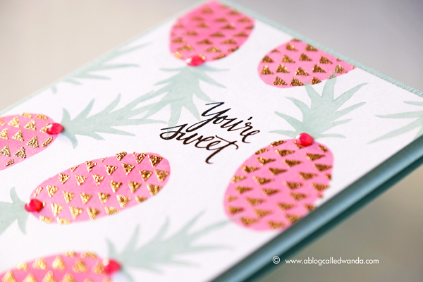 Concord & 9th Pop Art Pineapples. Nuvo Gilding Flakes. Clean and Simple one layer card by Wanda Guess