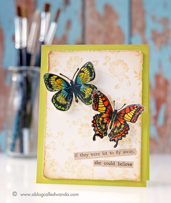 Tim Holtz stamps and Distress Markers. Flutter stamp set. Vines and Roses Background stamp. Project by Wanda Guess