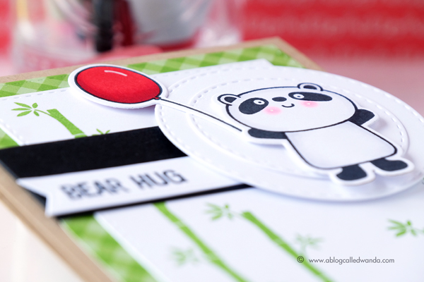 My Favorite Things Happy Pandas! MFT Sketch challenge. Card by Wanda Guess. Copic coloring