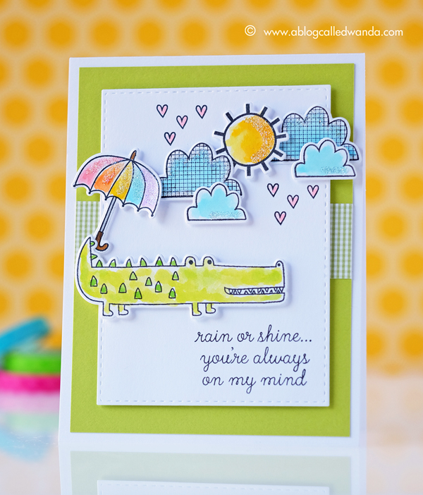 Reverse Confetti stamps! Card by Wanda Guess. Weather it Together and Later Alligator