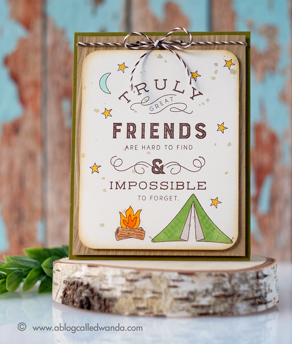 PAPERTREY INK QUOTED TRUE FRIENDS STAMP SET. JUNE 2017 RELEASE. CARD BY WANDA GUESS