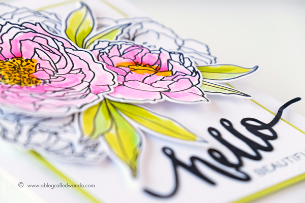 WPlus9 Modern Peonies stamp set. Card by Wanda Guess. Zig Clean Color markers watercolor.