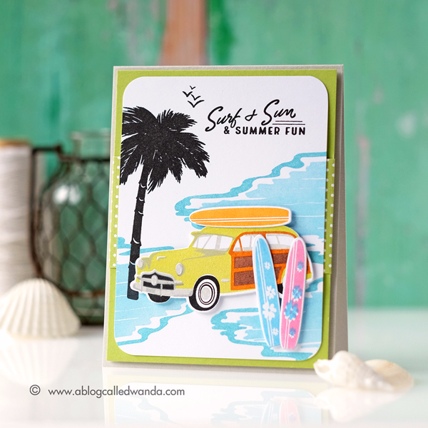 Papertrey Ink On The Wagon stamp set. July 2017 new release. Retro Summer card. Surfing wagon. Card by Wanda Guess. PTI Design Team