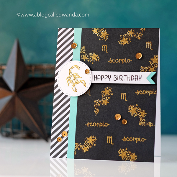 Hero Arts Card Kit - Zodiac Birthday card by Wanda Guess