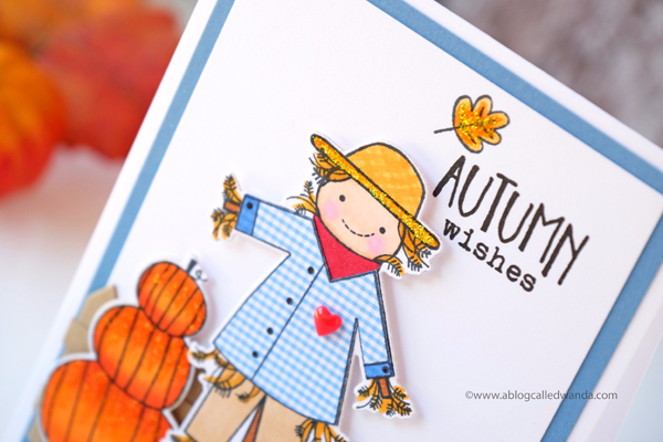 Scarecrow Autumn card. Copic marker coloring