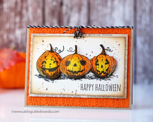 Tim Holtz Pumpkin Stamps. Pumpkinhead. Vintage Halloween Card. Distress Inks