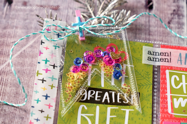 Shaker Tag using We R Memory Keepers Fuse Tool. Sequins