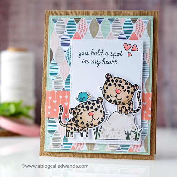 Reverse Confetti Heart Spots stamp set Valentine card