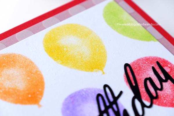 Papertrey Ink Balloon stencil birthday card