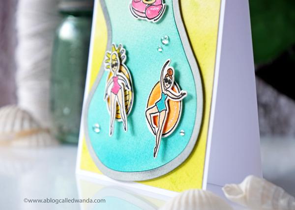 Avery Elle Splash stamp set. Liquid watercolors....swimming pool die