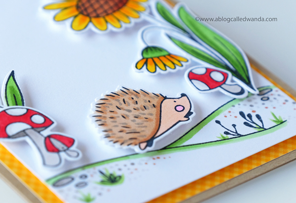 Waffle Flower Autumn Time stamp set. Hedgehog. Big Bear and Bird designs