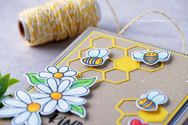 Honey Bee Stamps - Busy Bees, Hexagon Dies, Thank you card