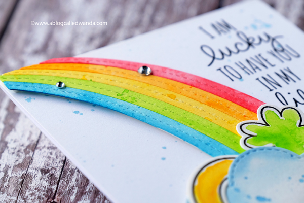watercolor rainbow with MFT stamps and dies