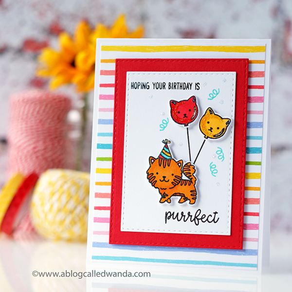 Sunny Studio Stamps Purrfect Birthday. Copic coloring. Lawn Fawn Really Rainbow paper