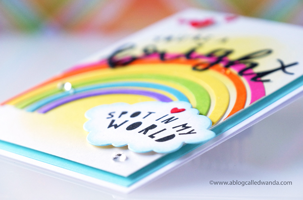 Handmade card Rainbow with distress inks