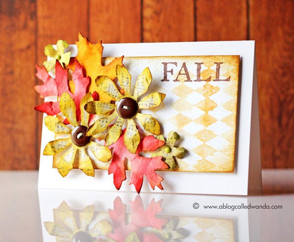 Fall card by Wanda Guess - Tim Holtz stencils and dies