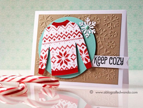 My Favorite Things sweater die - card by Wanda Guess