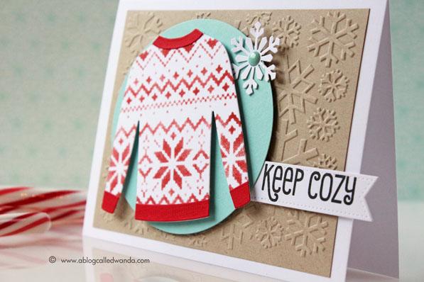 Christmas Sweater card by Wanda Guess MFT