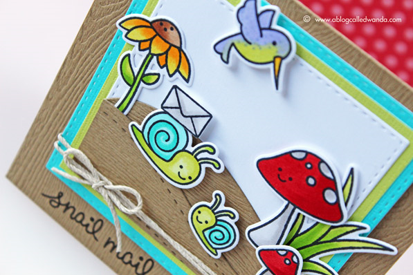 Lawn Fawn Snail Mail card by Wanda Guess