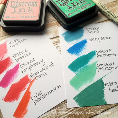 New Distress Inks color chart - coral and pistachio - by Wanda Guess