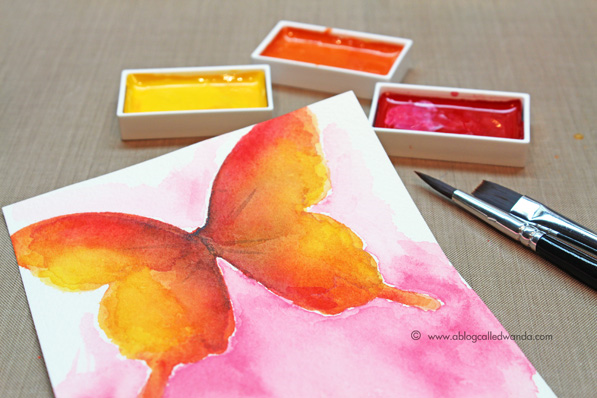 Kuretake Zig watercolors. Butterfly tutorial by Wanda Guess. Watercoloring