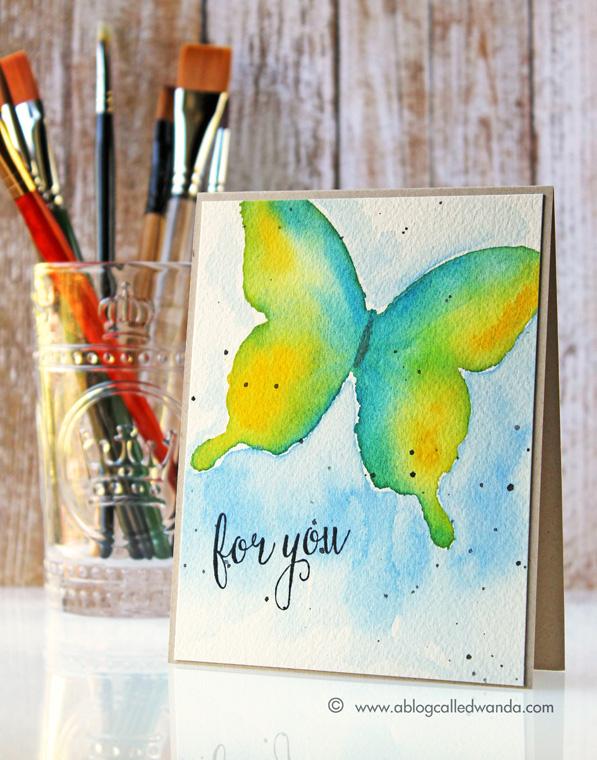 watercolor butterfly card by Wanda Guess