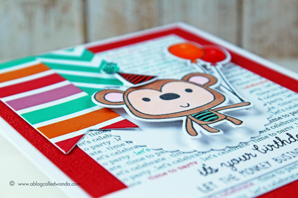 Monkey birthday card by Wanda Guess. Reverse Confetti stamps