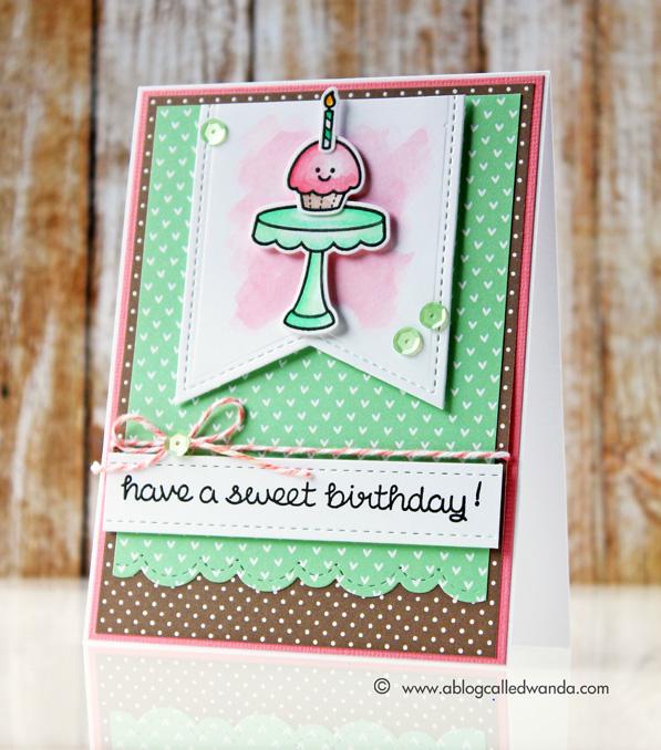 Lawn Fawn cupcake card by Wanda Guess