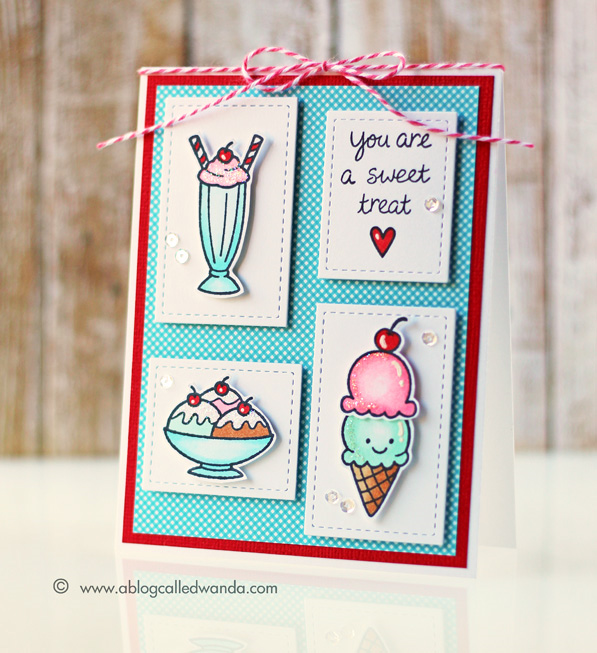 You are a sweet treat! Card by Wanda Guess. Lawn Fawn Here's the Scoop stamp set. Pretty Pink Posh dies.