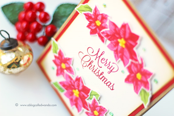 Hero Arts card kit - card by Wanda Guess. Poinsettia Christmas card!