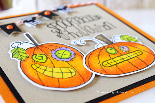 Spooktacular Halloween card! Impression Obsession stamps. Card by Wanda Guess. Colored with Prismacolor pencils and Gamsol.