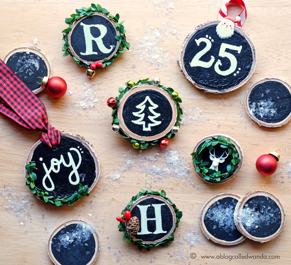 Chalkboard art ornaments by Wanda Guess