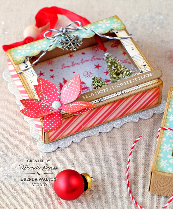 Brenda Walton Shadow Box Dies by Sizzix. Project by Wanda Guess. Ornament and treat box.