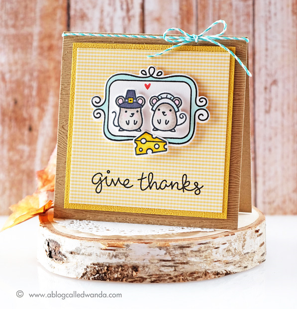 Thanksgiving card with Lawn Fawn Stamps - by Wanda Guess
