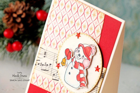 Retro Christmas Card. Made by Wanda Guess. Simon Says Stamp dies and stamps. #sssfave