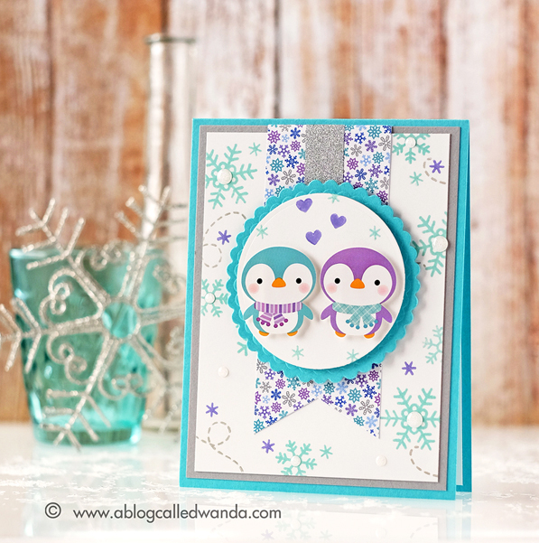 Simon Says Stamp January 2016 card kit. Penguins! Card by Wanda Guess #sssfave
