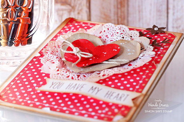 Simon Says Stamp products. Hearts. Card by Wanda Guess
