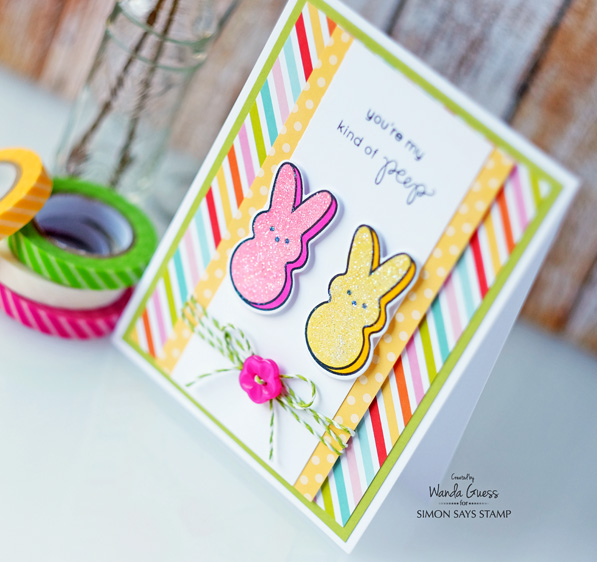 Simon Says Stamp March 2016 card kit. Favorite Peeps! Card by Wanda Guess #sssfave
