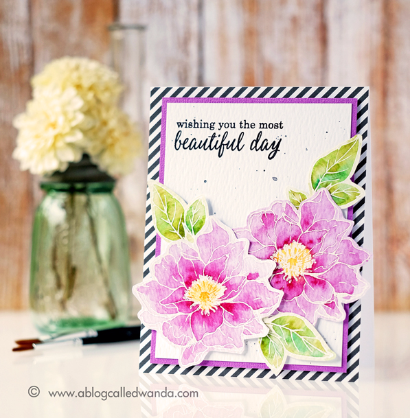 My Monthly Hero Kit from Hero Arts. Watercolor florals card by Wanda Guess. Daniel Smith Watercolors.
