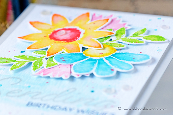 PTI Painted Petals stamp set. Card by Wanda Guess