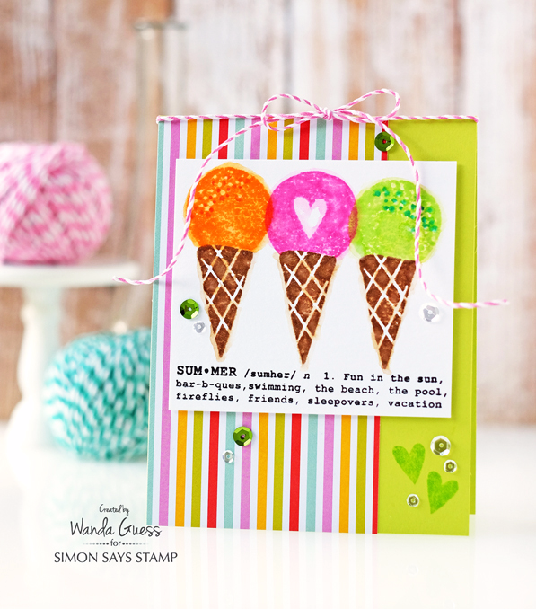Wanda Guess for Simon Says Stamp. Cone Building stamp set and Pool Play stamp set. Distress Inks. Ice Cream Card