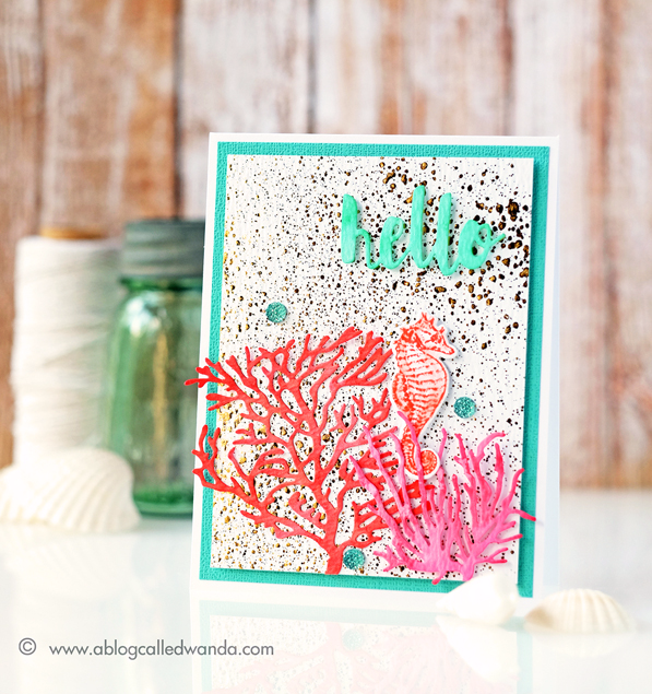 Avery Elle Coral Reef stamps and dies. Minc Gold Foil with Reactive Mist for the background. Distress Inks. Project by Wanda Guess