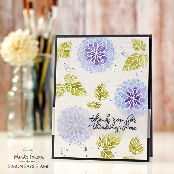 Simon Says Stamp July 2016 Card Kit. Card by Wanda Guess Floral Greetings