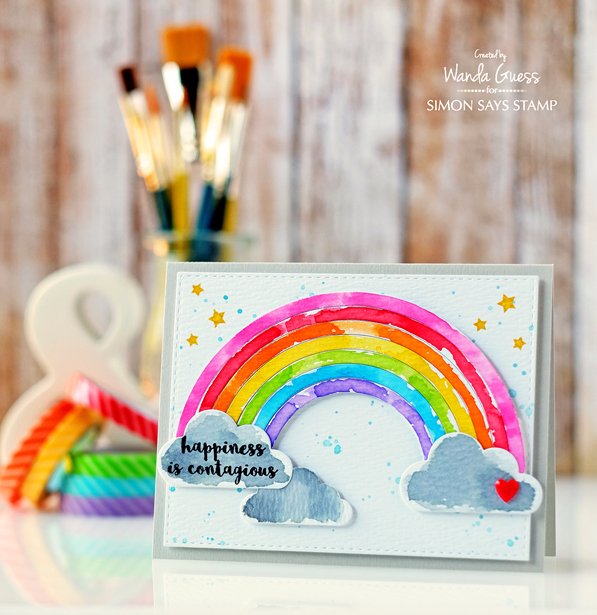 Rainbow Watercolor Card. New release from Simon Says Stamp. Card by Wanda Guess.