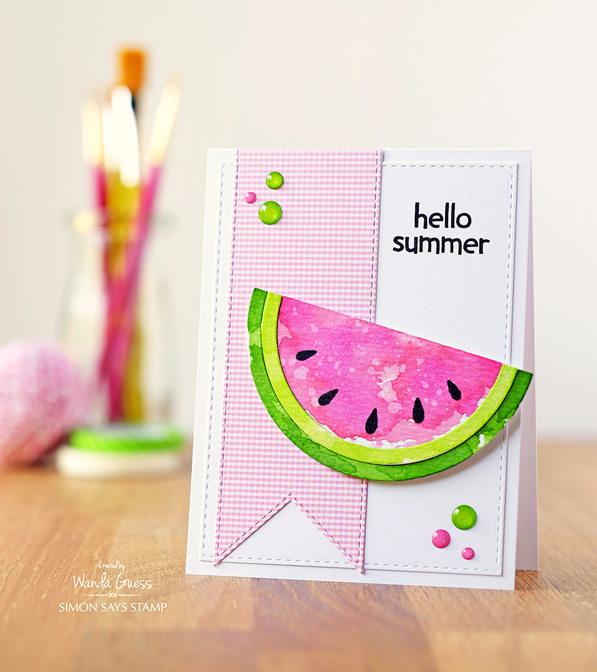 Watermelon card using new Rainbow Die from Simon Says Stamp. Watercolored with Distress Inks. card by Wanda Guess