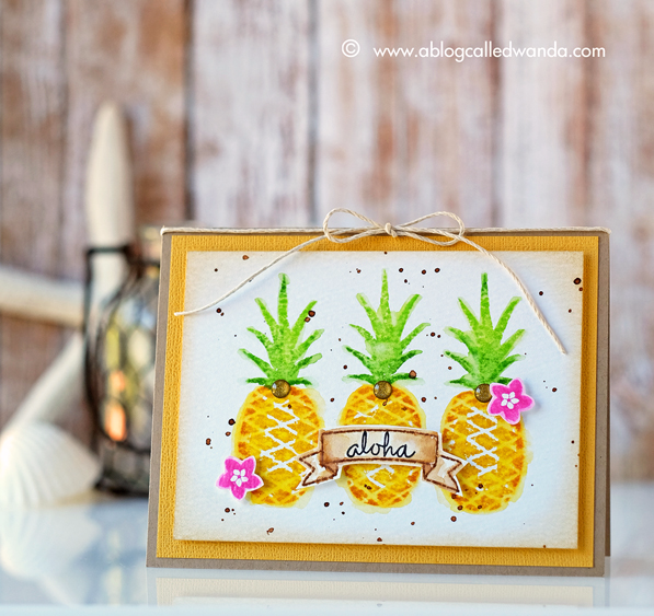 Concord & 9th Pop Art Pineapples stamp set. Card by Wanda Guess. June guest designer