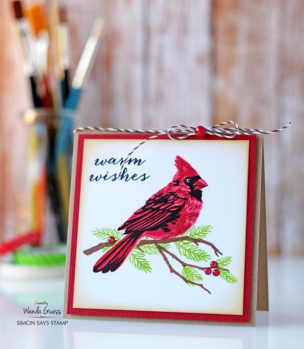 Hero Arts Layering Cardinal stamp set. Masterpiece Box project. Card by Wanda Guess